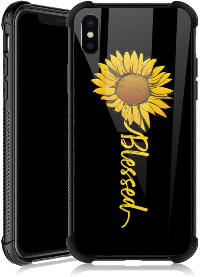 iPhone Xs Case,Cute Sunflower Blessed iPhone X Cases for Girls,Tempered Glass Back Cover Anti Scratch Reinforced Corners Soft TPU Bumper Shockproof Case for iPhone Xs Yellow Flower