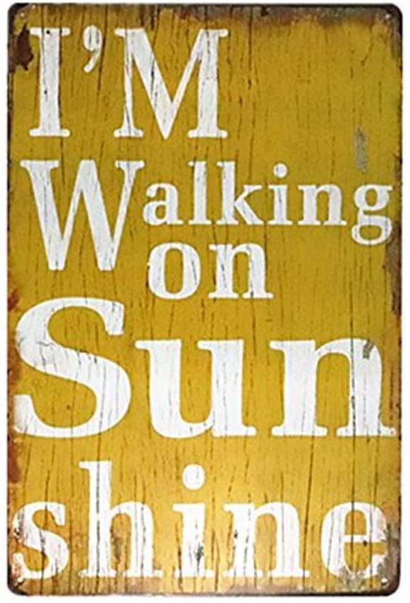 MAIYUAN Metal Painting i Walking on Sunshine Garage Tin Sign, Bar, Home Decor, Man Cave 8x12 Inches(H8-B085)