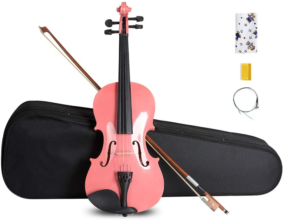 ARTALL 4/4 Handmade Student Acoustic Violin Beginner Pack with Bow, Hard Case, Chin Rest, Spare Strings, Rosin and Bridge, Glossy Pink
