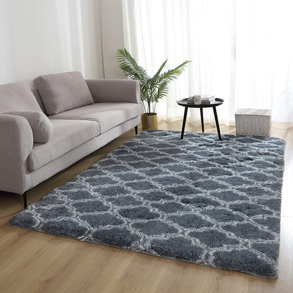 Living Room Area Rugs , Indoor Soft Shaggy Plush Carpet Non-Slip Bedroom Geometric Moroccan Shag Rugs Living Room Carpets for Kids Girls Christmas Thanksgiving Living Room Decor (3X4 Feet, Frey/White)