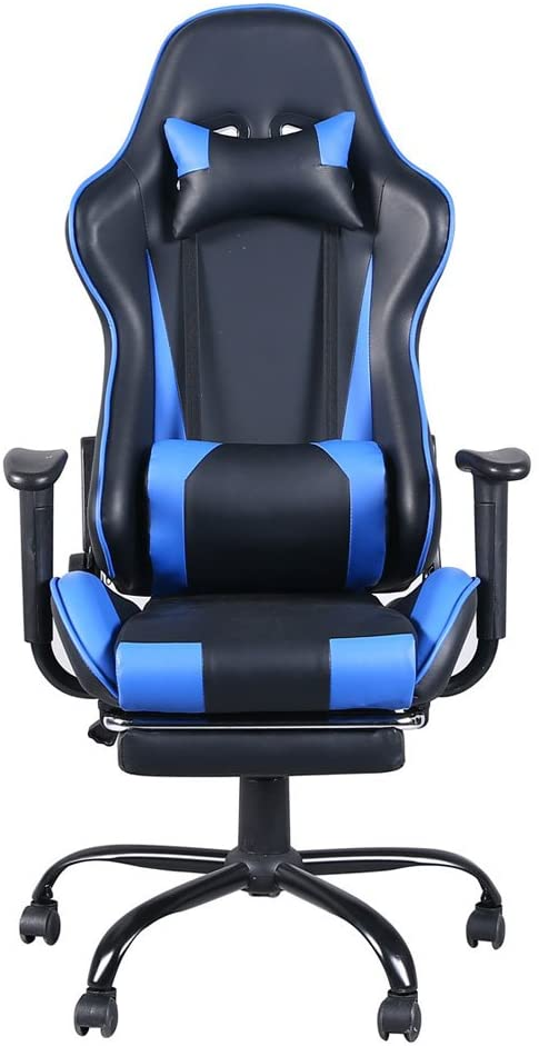 ISENPENK High Back Swivel Chair Racing Gaming Chair Office Chair with Footrest Tier Black & Blue