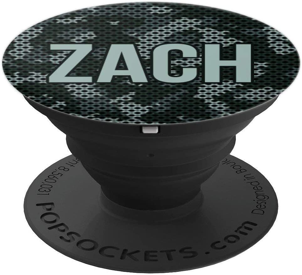First Name Zach on Grey Camo Pattern PACH697 PopSockets Grip and Stand for Phones and Tablets