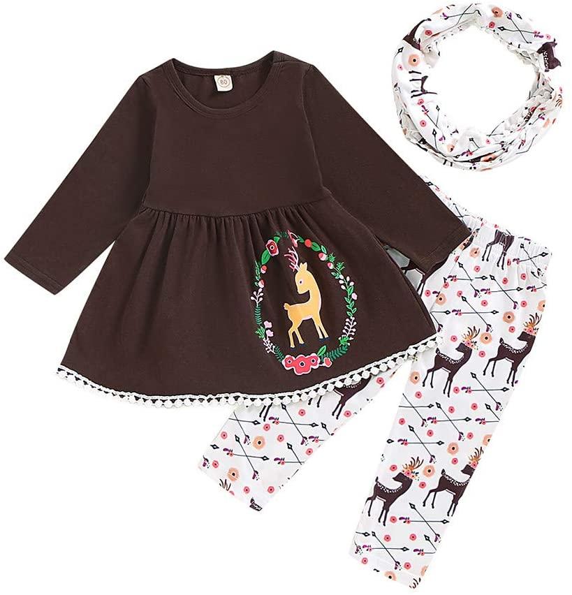 Ywoow 12M-4T Children's Long-Sleeved Christmas Fawn Print Fringed Skirt + Cartoon Pants + bib Scarf Set Toddler Baby Girl Christmas Deer Print Tassels