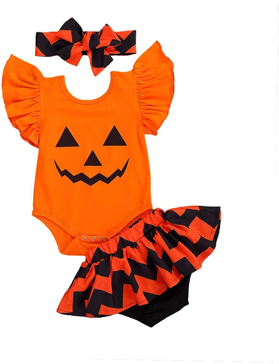 Toddler Infant Baby Girls Halloween Outfit Ruffle Short Sleeve Romper Top+Tutu Skirt Set 2Pcs Halloween Sets