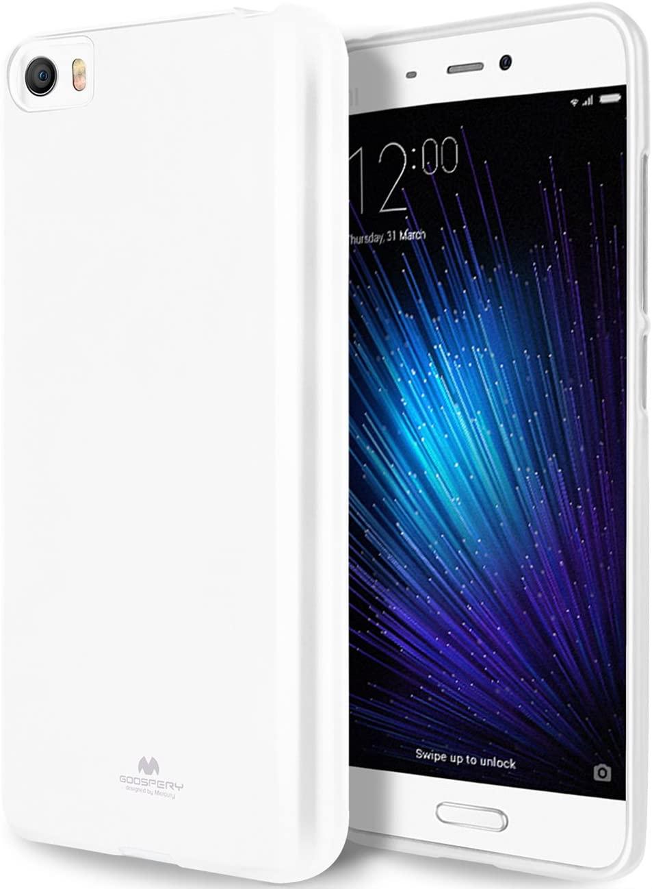 GOOSPERY Pearl Jelly for Xiaomi Mi 5 Case (2016) with Screen Protector Slim Thin Rubber Case (White) XIAMI5-JEL/SP-WHT
