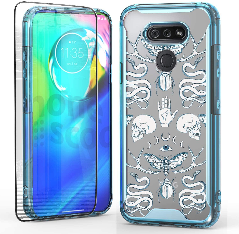 Savino LG Harmony 4 Acrylic Case, Colorful Edge Case with Harmony 4 Tempered Glass Screen Protector, Heavy Duty Protection (Blue Skull)