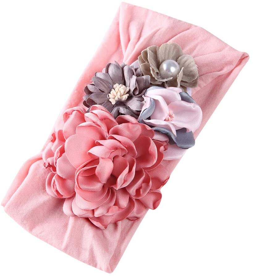 Little Story 0-3Y Super Soft Nylon Headgear for Infants and Young Children, Silk Stitching Flowers, Baby Hair Accessories, Princess Headband 0