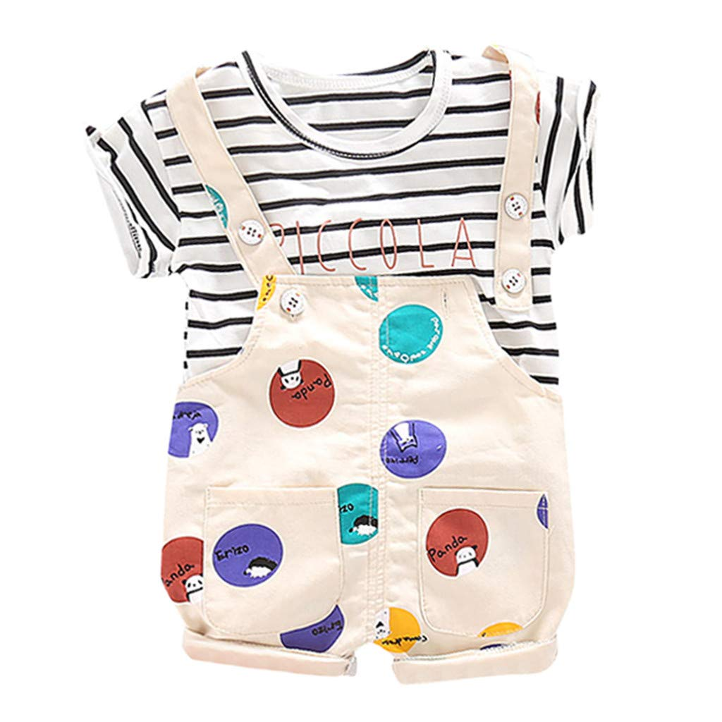 Baby Boy Outfit Christmas Toddler Baby Boy Kid Girl Dot Stripe Letter Tops T-Shirt Strap Short Outfits Set Baby Autumn Outfits