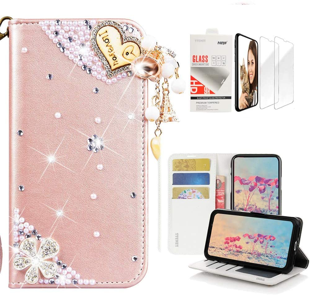 STENES Bling Wallet Case Compatible with Samsung Galaxy Note 9, 3D Handmade Heart Pendant Flowers Design Leather Case with Wrist Strap & Screen Protector [2 Pack] - Pink