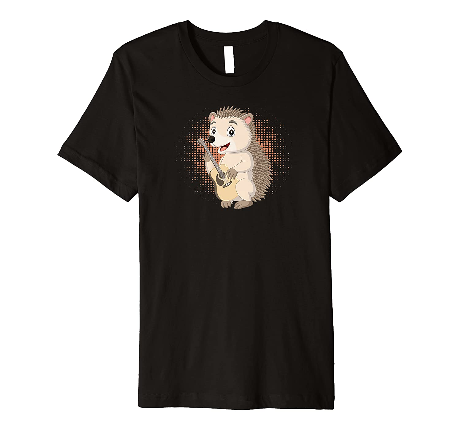 Hedgehog Playing Acoustic Guitar Musical Fans Band Animal Premium T-Shirt