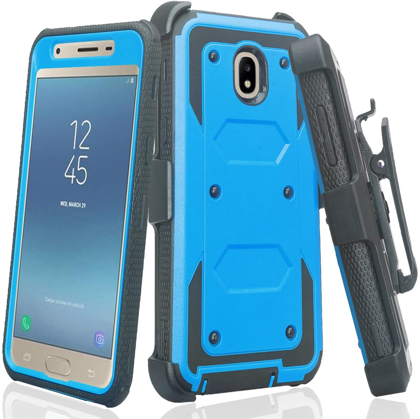 Compatible for Samsung Galaxy J3 2018 J337/Amp Prime 3 (2018)/Galaxy Express Prime 3 (2018)/Galaxy J3 Achieve/J3 Star Case, Shockproof Case with Belt Clip Holster & Built-in Screen Protector (Blue)