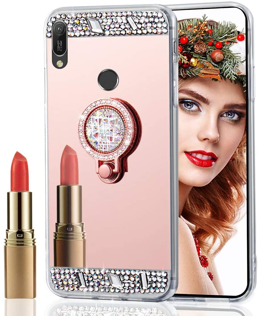 LEECOCO Huawei Honor 8A Case Glitter Crystal Diamond Rinestone Mirror Makeup Silicon TPU Soft Rubber Case with Diamond Ring Stand Holder Cover for Huawei Y6 2019 Diamond Mirror TPU Rose Gold