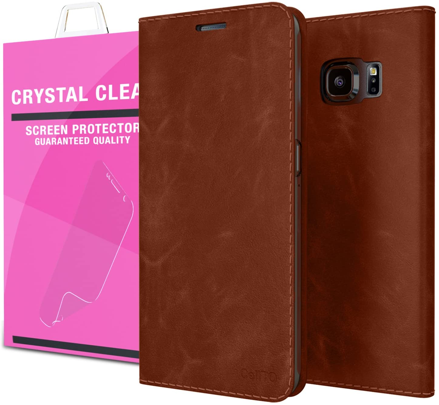 Galaxy S6 Edge Case - Cellto [GLux] PU Leather Wallet Type Diary Cover w/Card Slots - Brown