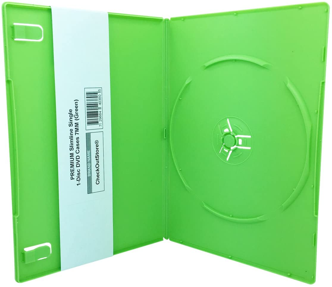 CheckOutStore (12) Premium Slimline Single 1-Disc DVD Cases 7mm (Green)