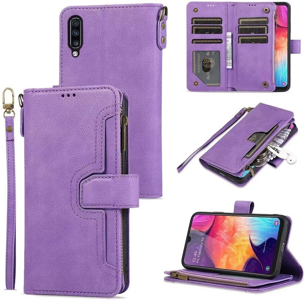 LCHULLE Wallet Case for Samsung Galaxy S20 Ultra/S20 Ultra 5G Premium PU Leather Case Magnetic Closure Folio Flip Case 6 Card Holder Kickstand Zipper Pocket Case with Wrist Strap-Purple