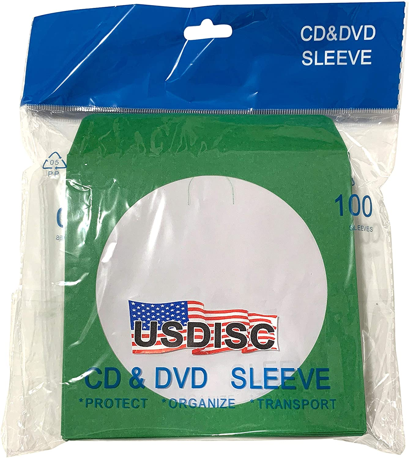 USDISC Paper Sleeves 100g Window, Flap, Green, Pack of 200