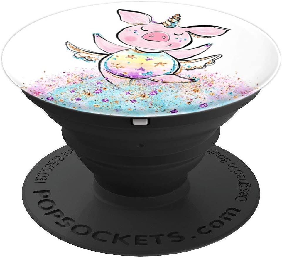 Cute Whimsical Pink Pig Unicorn Fantasy Pet PAAQ014 PopSockets Grip and Stand for Phones and Tablets