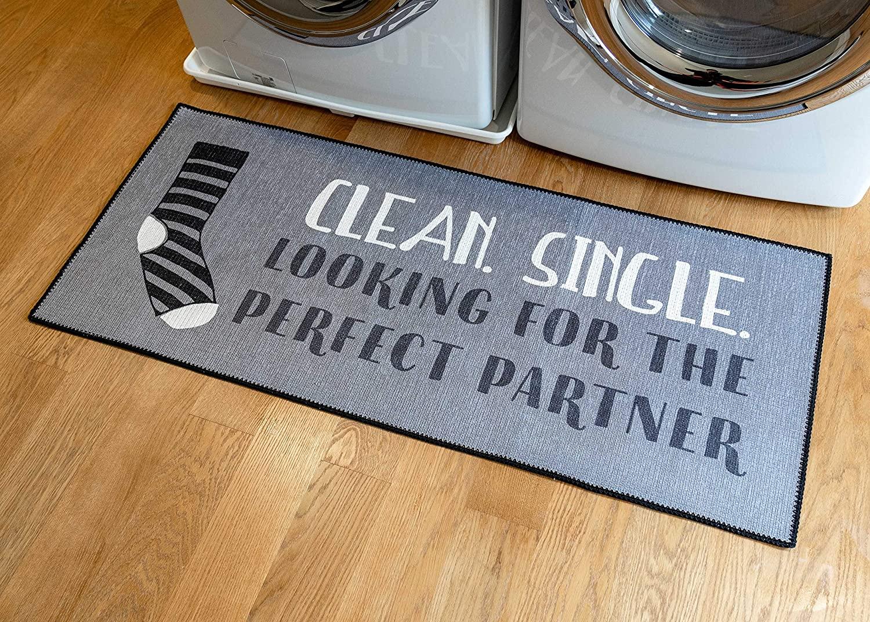 Benissimo Laundry Room Rug, Non Skid Rubber Area Rugs, Cotton, Durable, Machine Washable, Runner Floor Mat for Washroom, Bathroom, Mudroom, Kitchen Decor, 24x56-SOCK