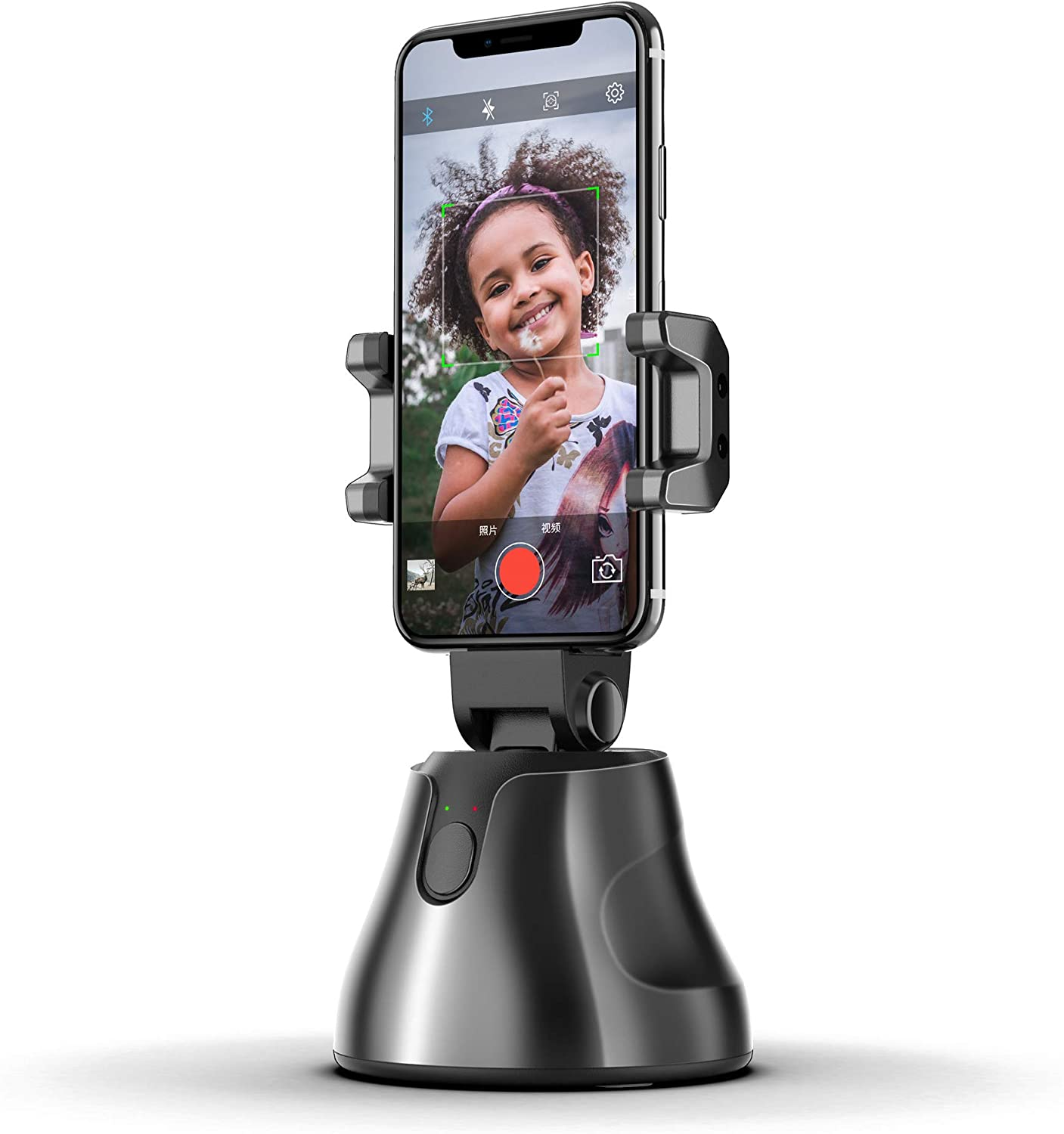 360 Rotation Auto Object Tracking Holder Smart Portable Selfie Stick,All-in-one Smart Following Face and Object Tracking Intelligent shootings Phone Mount,AI Robot Tripod for Phone(Black)