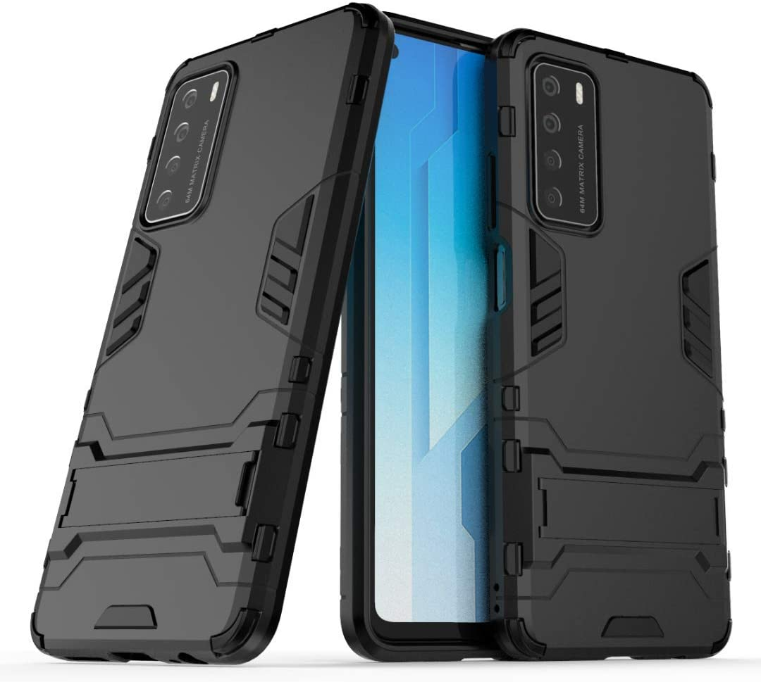 Smfu Cover for Huawei P40 Pro Heavy Duty Shockproof Case with Kickstand Feature Hybrid Dual Layer Armor Defender Protective Cover-with Screen Protector 2 Pack- Non-Slip Cover for P40 Pro(Black)
