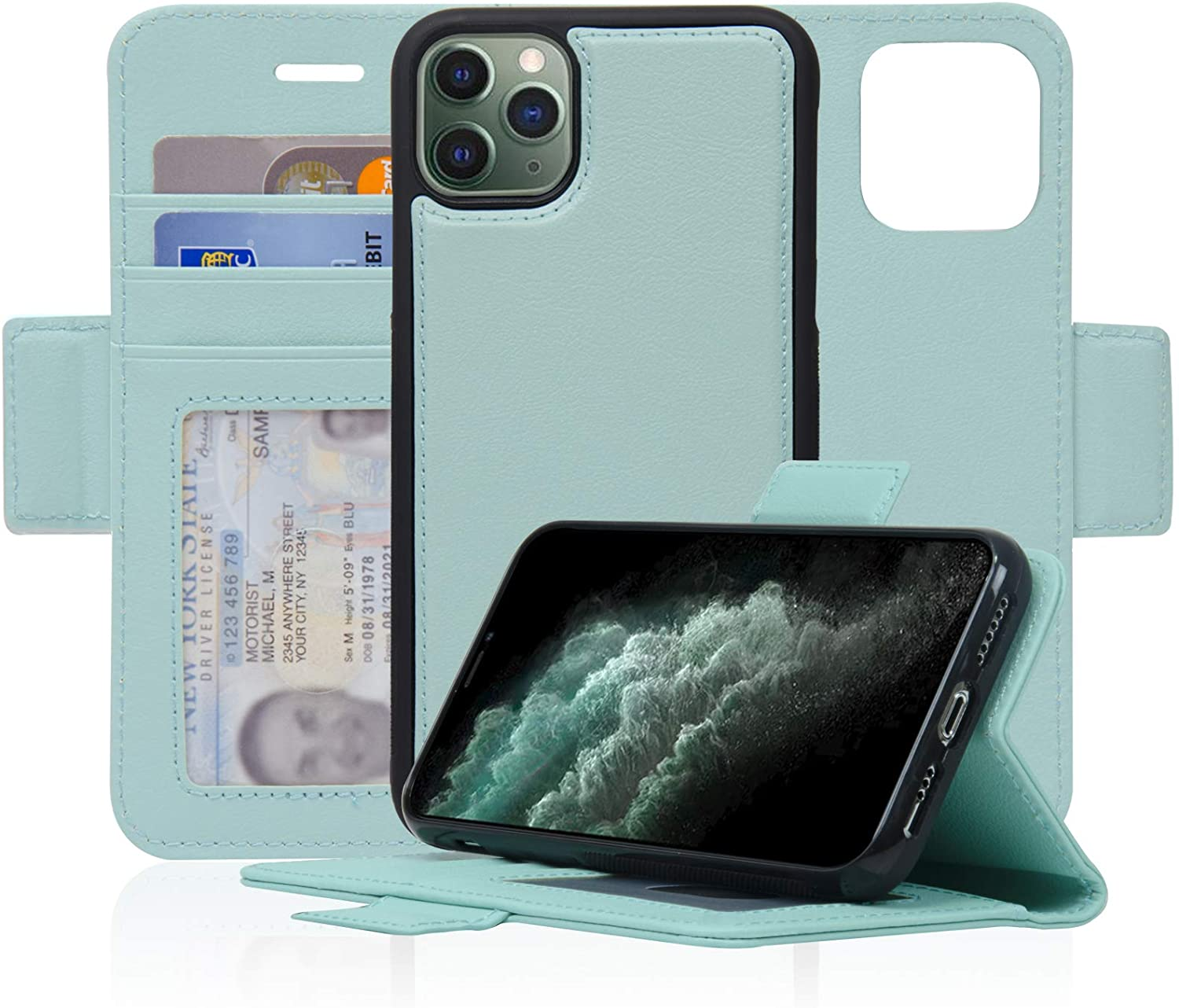 Navor Detachable Magnetic Wallet Case with RFID Protection Compatible for iPhone 11 Pro [5.8 inch] [Vajio Series] - Mint [IP11PROVJMN]
