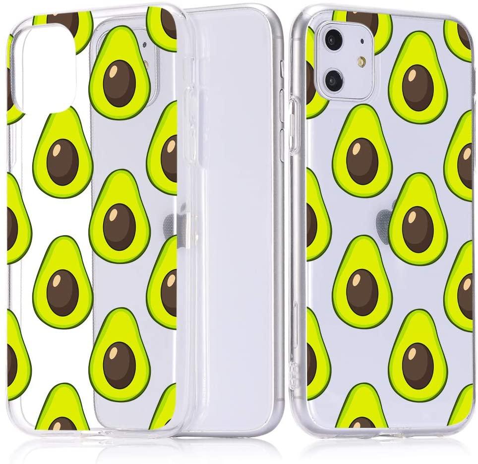 JOYLAND Case for iPhone 7 Plus/8 Plus Case Avocado Pattern Clear Phone Cover Flexible Soft TPU Bumper Case for iPhone 7 Plus/8 Plus