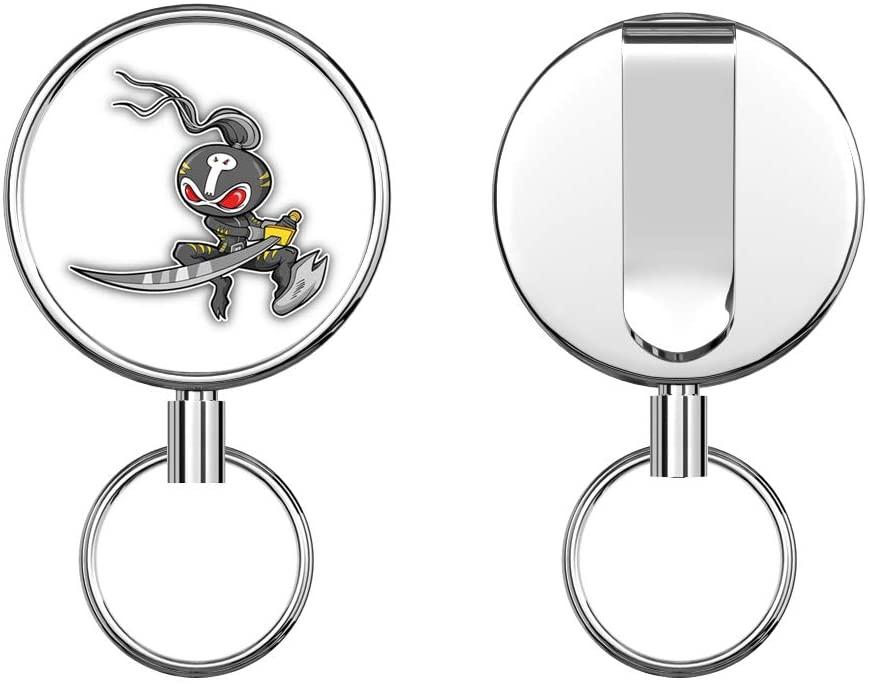 Ninja Warrior Samurai Round ID Badge Key Card Tag Holder Badge Retractable Metal Reel Badge and Key Holder with Belt Clip