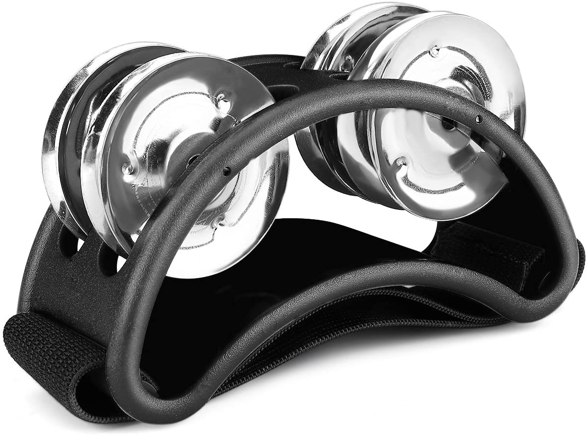 Flexzion Foot Tambourine Percussion with Double Row Steel Jingles - Foot Shaker Musical Instrument Drum for Kids KTV Party Shoes Toy Gift Singer Vocalists Cajon & Guitar Players (Black)