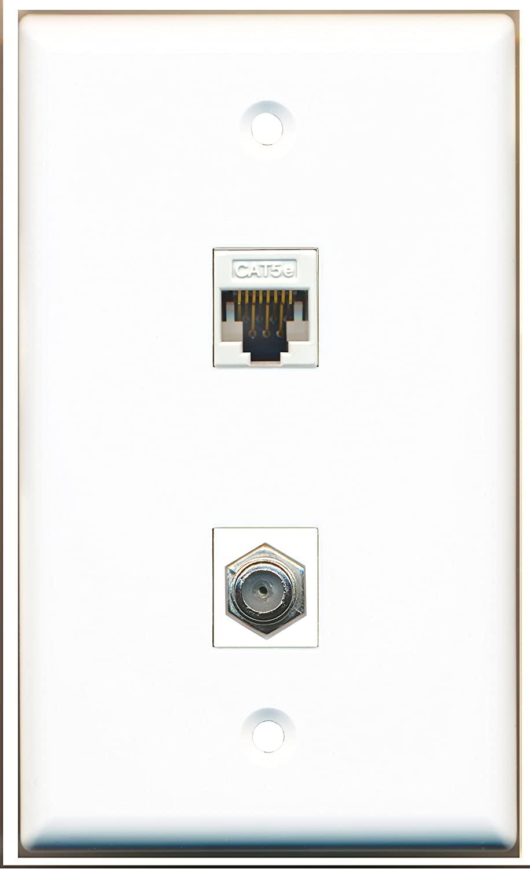 RiteAV - 1 Port Coax 1 Port Cat5e White Wall Plate - Bracket Included