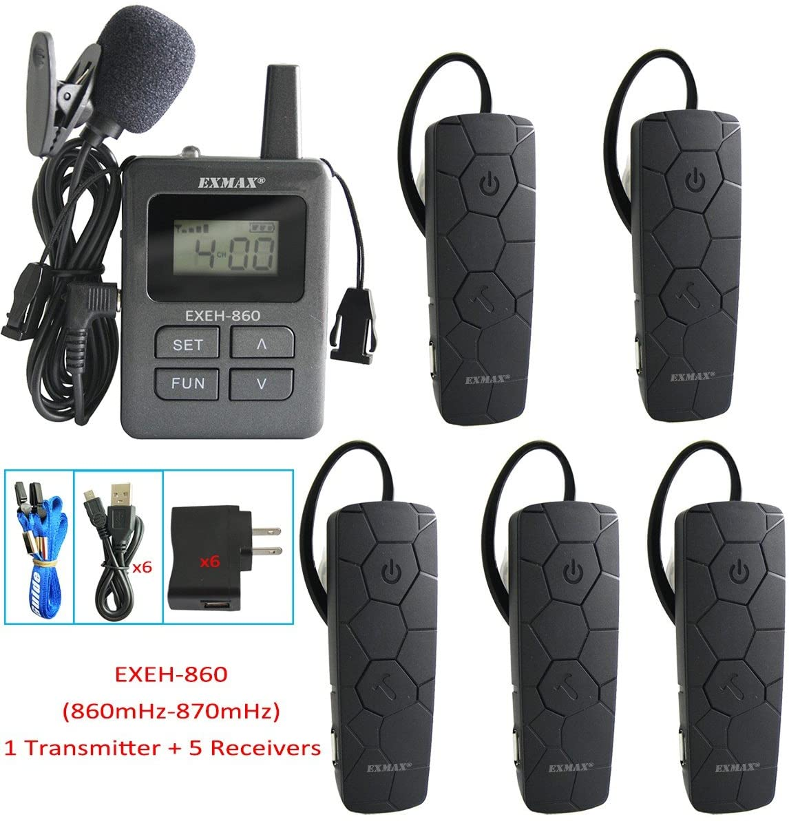EXMAX 860-870mHz Wireless Audio Tour Guide System Headset Mini Ear-hook Receiver 99 Channels for Translation,Hajj,Conference,Classroom Lectures,Seminars,Training(1 Transmitter 5 Receivers)