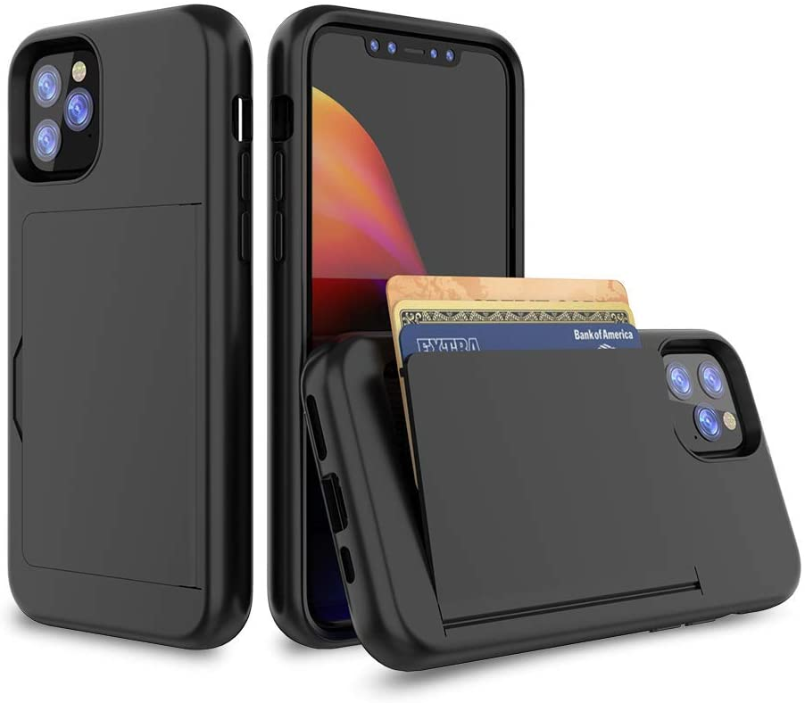 Erudite iPhone 11 Pro Case, iPhone 11 Pro Cell Phone Wallet Case Credit Card Holder Flip Case Fully Body Protective Soft Grip Hybrid TPU Hard PC Durable Non Scratch for iPhone 11 Pro 5.8 Inch(Black)