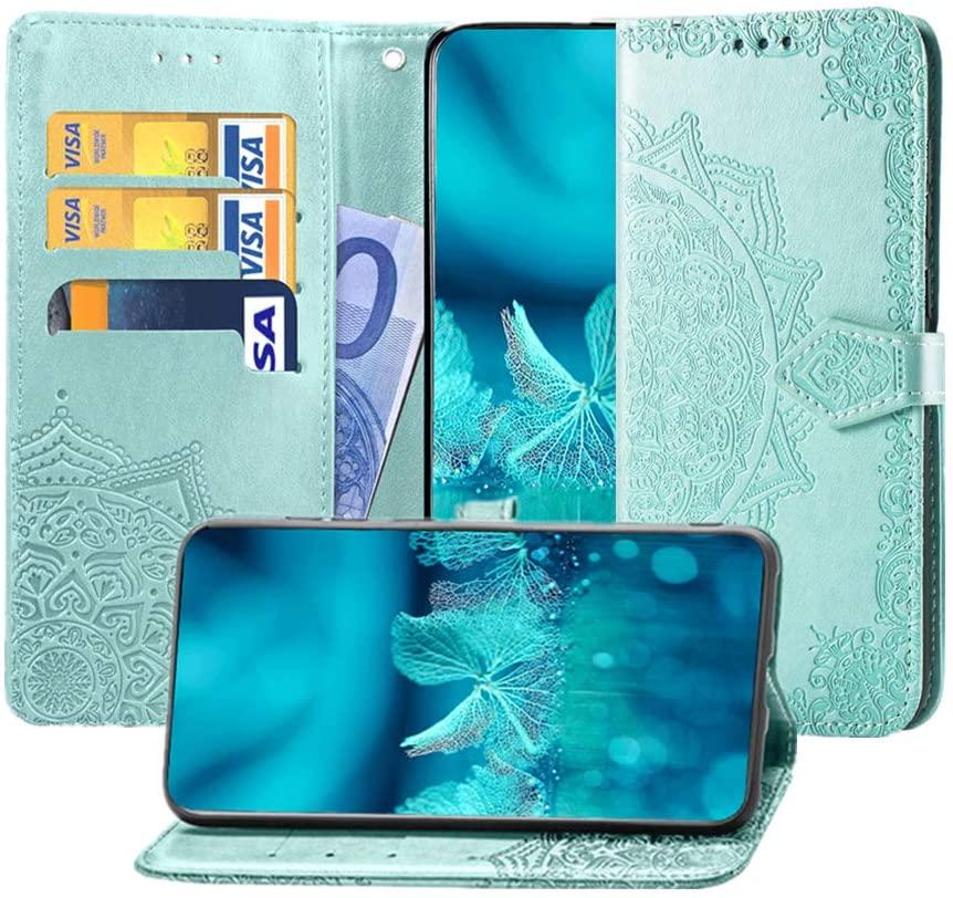 MEUPZZK Google Pixel 3 XL Wallet Case, Mandala Flower Embossed Premium PU Leather Kickstand Flip Cover Card Holders & Hand Strap Wallet Protective Case for Google Pixel 3 XL 6.3 Inch Mint Green