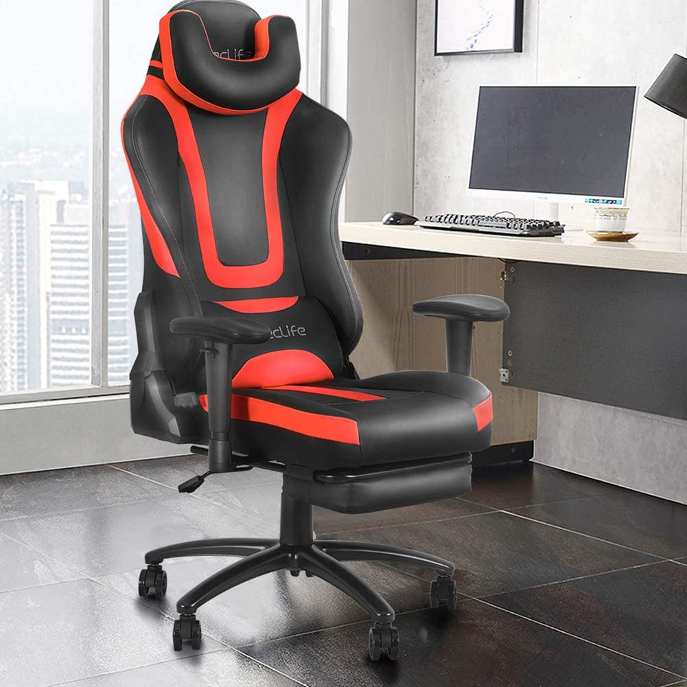 Gaming Chair Ergonomic Racing Style Recliner with Massage Lumbar Support, Office Armchair for Computer PU Leather E-Sports Gamer Chairs with Retractable Footrest