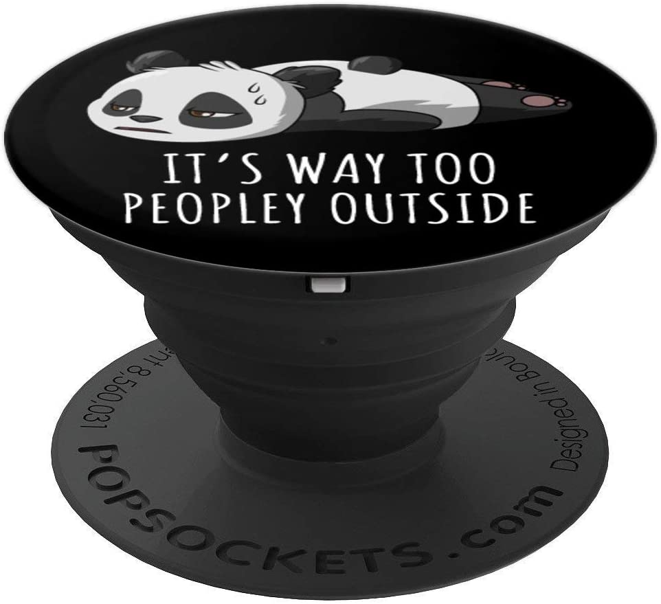 Funny Panda Sarcasm Quotes Antisocial Introverts Black PopSockets Grip and Stand for Phones and Tablets