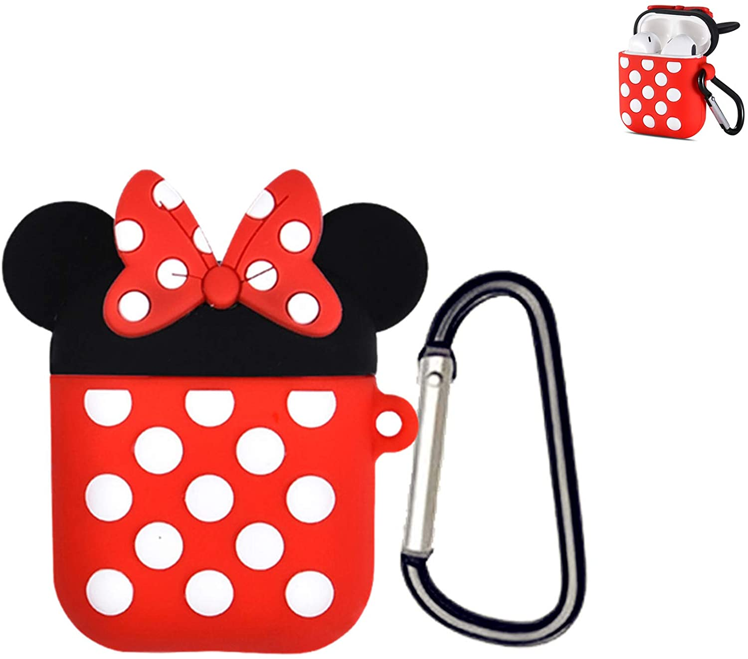 for Airpods Case, 2020 Newest Full Protective Shockproof Minnie Mouse Case Cover, Protective Soft 3D Cartoon Silicone Cover Case Compatible for Airpods 2 &1 Charging Cases with Carabiner Keychain