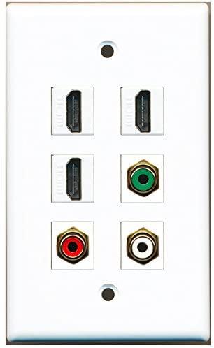 RiteAV - 3 HDMI 1 Port RCA Red 1 Port RCA White 1 Port RCA Green Wall Plate