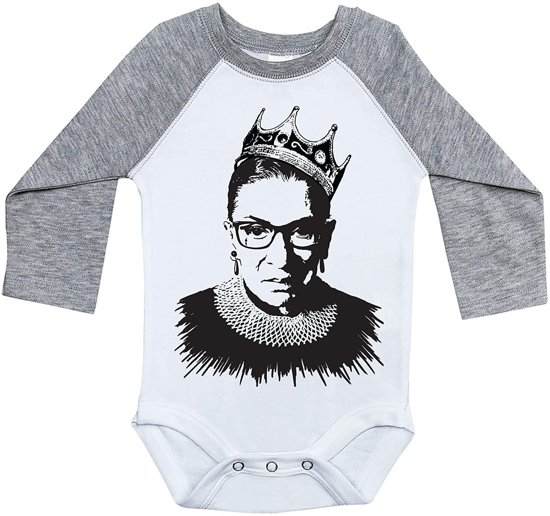 RBG Baby Raglan Onesie, Notorious RBG Crown, Feminism Bodysuit, Feminist Onesie