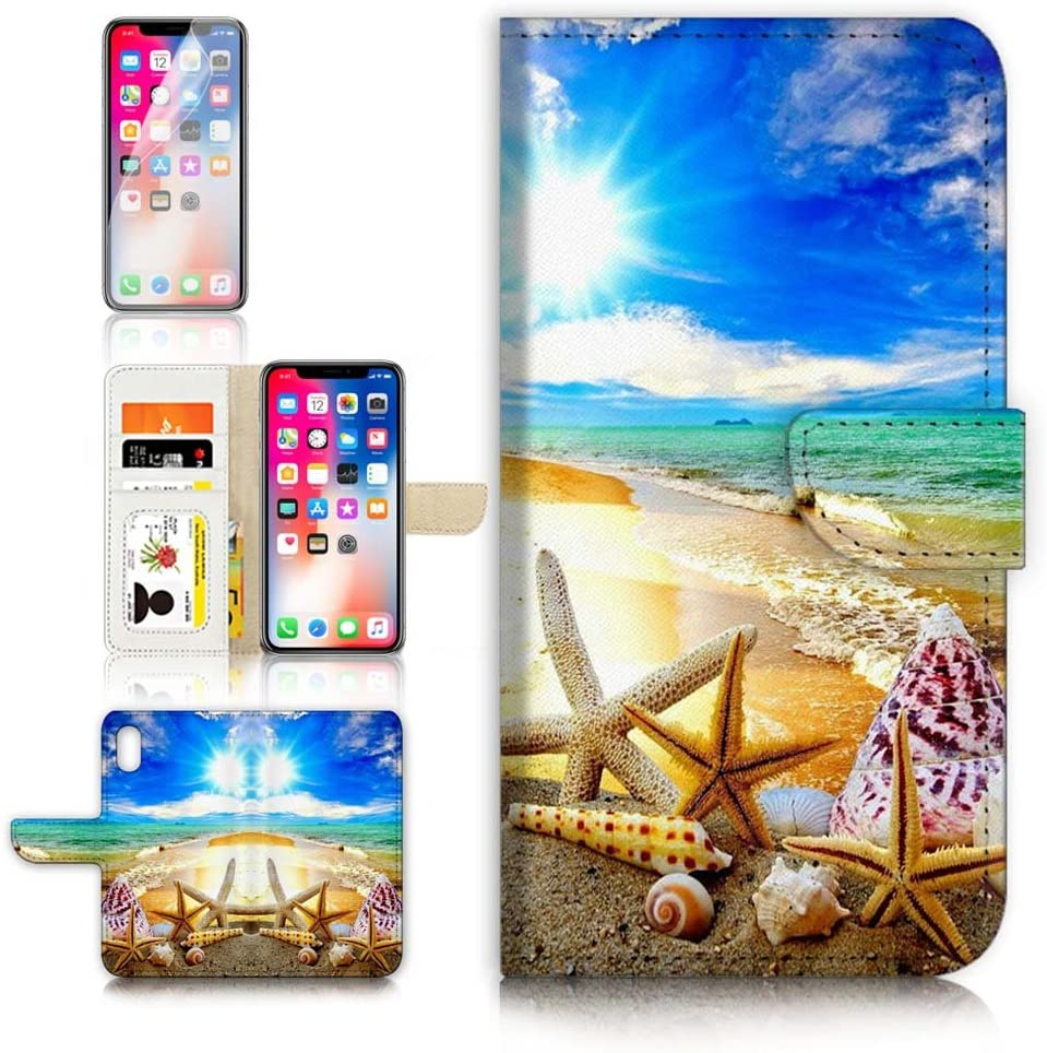 (for iPhone Xs/iPhone X) Flip Wallet Case Cover & Screen Protector Bundle - B31008 Beach Starfish Shell Sky