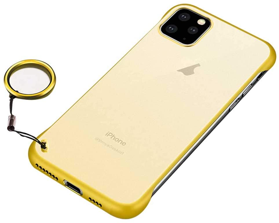 ADRIKO Case for iPhone 11 Pro with Clear Frosted Cover Hard PC+Soft Silicone TPU Shockproof Slim Phone Protective Cover for Apple iPhone 11 Pro 5.8Inch(Yellow)'