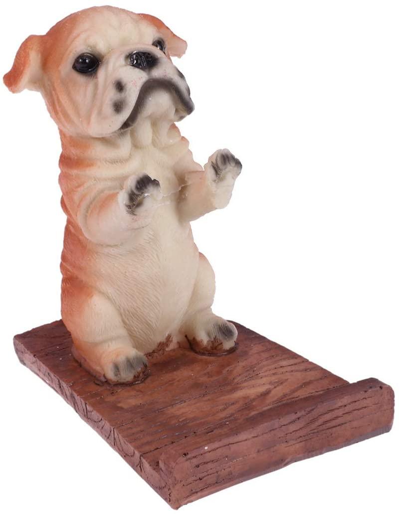 UKCOCO Cell Phone Stand, Cute Dog Wooden Mobile Phone Holder Bracket for Smartphone Desktop (C)
