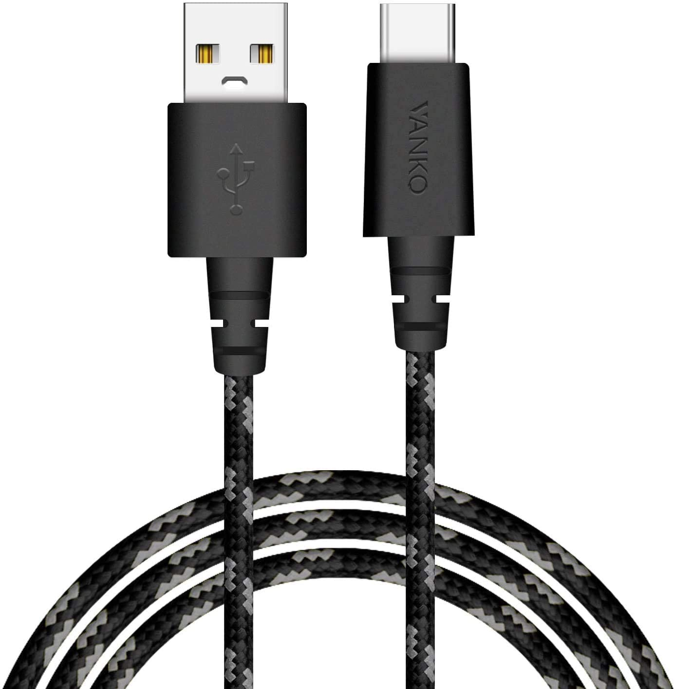 USB C Fast Charging Cable, VANKO USB C to USB A Charger (5ft/2 Pack), Nylon Braided Fast Charging Cord for Samsung Galaxy S10 S9 S8 S8 Plus Note 9 8, Pixel, LG V30 G6 G5, Moto Z Z2,Switch (Black/Grey)