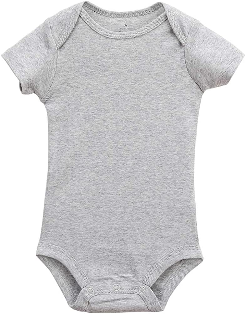 Ufcell Baby Girls Boys Bodysuit Short Sleeve Color Gray for 6-12 Months