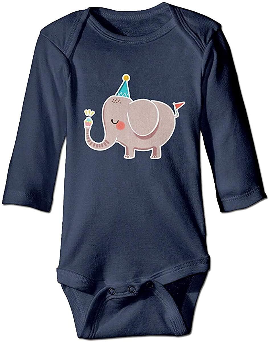 Lizerlly Birthday Elephant Newborn Long Sleeve Baby Boy Girl Onesies Toddler Bodysuit