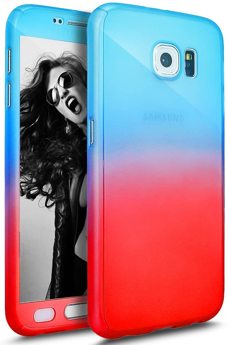 Galaxy S6 Case with Tempered Glass Screen Protector,PHEZEN 360 Front and Back Full Body Coverage Shockproof Hybrid Hard PC Armor Protective Case for Samsung Galaxy S6 (Gradient Blue Red)