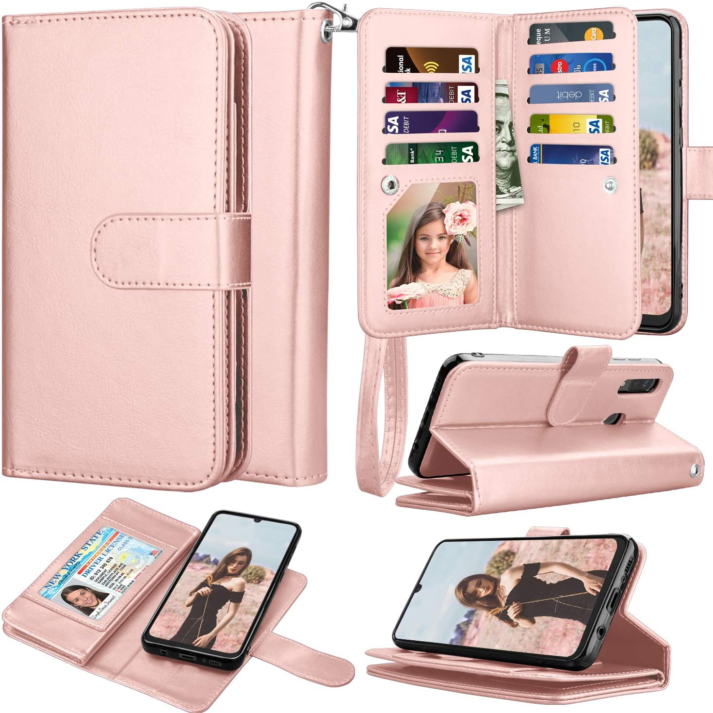Takfox Wallet Case for Samsung Galaxy A20, Galaxy A20 Case Wallet PU Leather with 9 Card Slots Holder Folio Flip Magnetic Detachable Phone Case & Wrist Strap for Samsung Galaxy A20 (2019)-Rose Gold