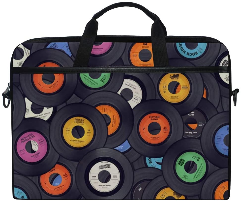MRMIAN Vinyl Records Music Colorful Discs Laptop Case Bag Sleeve Portable/Crossbody Messenger Briefcase Convertible w/Strap Pocket for MacBook Air/Pro Surface Dell ASUS hp Lenovo 15-15.4 inch