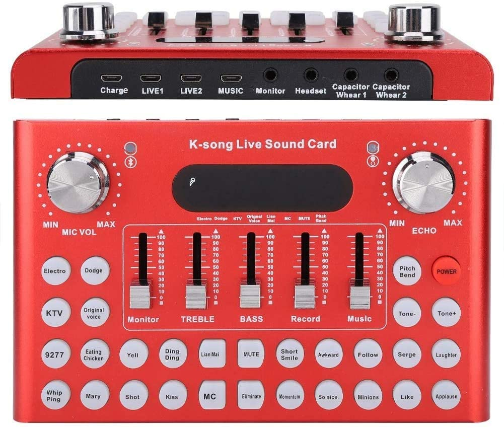REMALL Bluetooth Sound Card Mixer for Live Streaming, Voice Changer Sound Card with Multiple Sound Effects, Audio Mixer for Music Recording Singing on Mobile Phone, iPhone, Computer Tablet (Red)