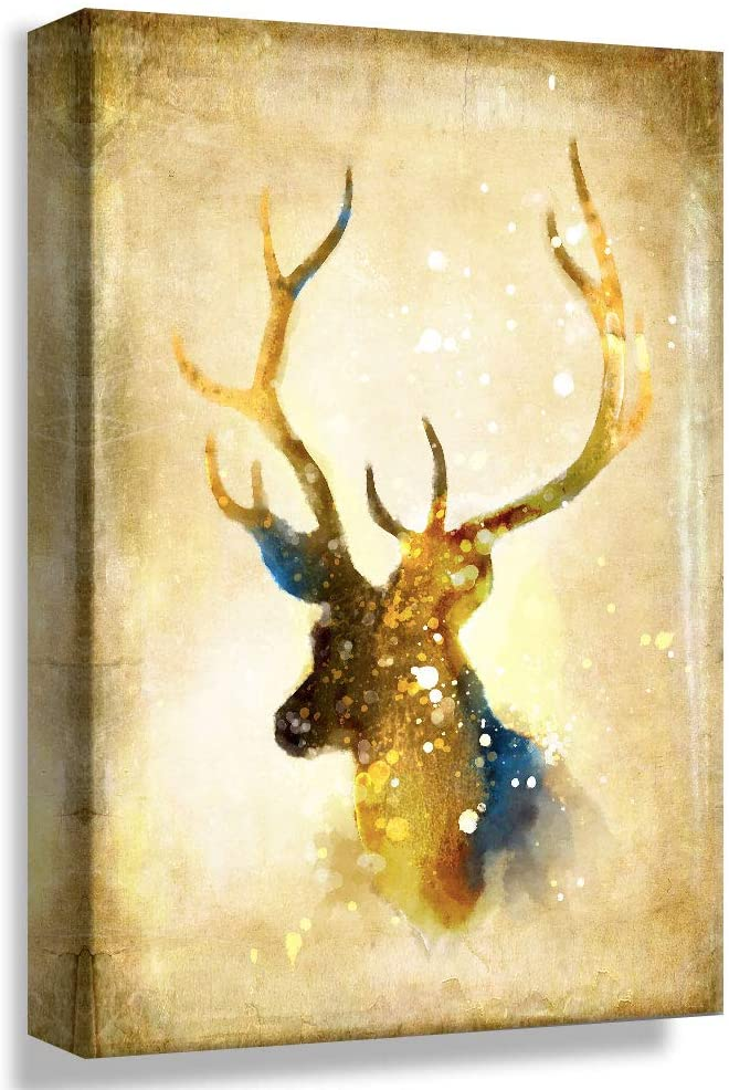 B2T NWT Canvas Wall Art Vintage Mystery Deer Painting Artwork for Home Prints Framed - 24x36 inches