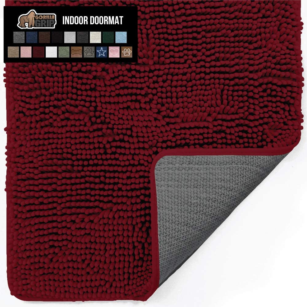 Gorilla Grip Original Indoor Durable Chenille Doormat, Large, 70x24, Absorbent, Machine Washable Inside Mats, Low-Profile Rug Doormats for Entry, Back Door, Mud Room Mat, High Traffic Areas, Burgundy