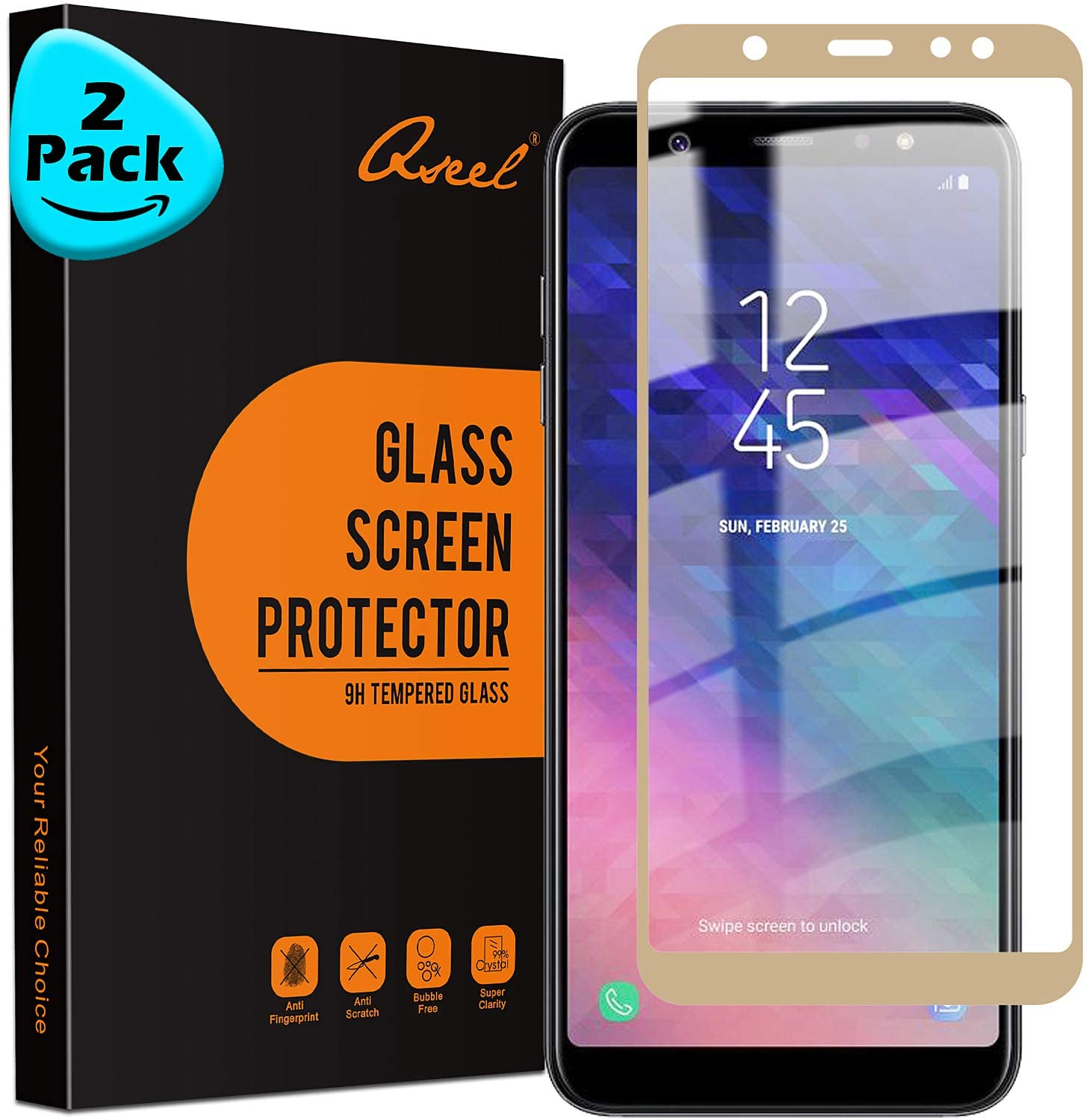 [2-Pack] QSEEL for Samsung Galaxy A6 Plus -2018 Tempered Glass Screen Protector, 9H Anti-Scratch Screen Guard Film with Arc Edge & Oleophobic Coating, 3D Touch Compatible, Golden Edge